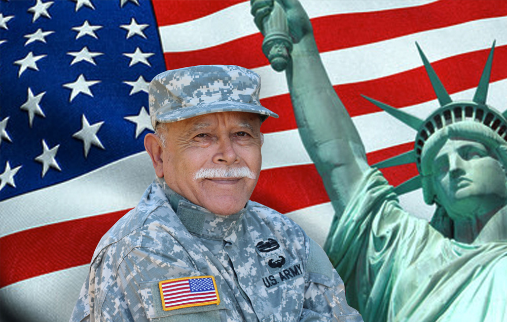 veteran with an american flag and the statue of liberty in the background | Veterans Care Services | Miami FL 33165 | call 305-520-5585
